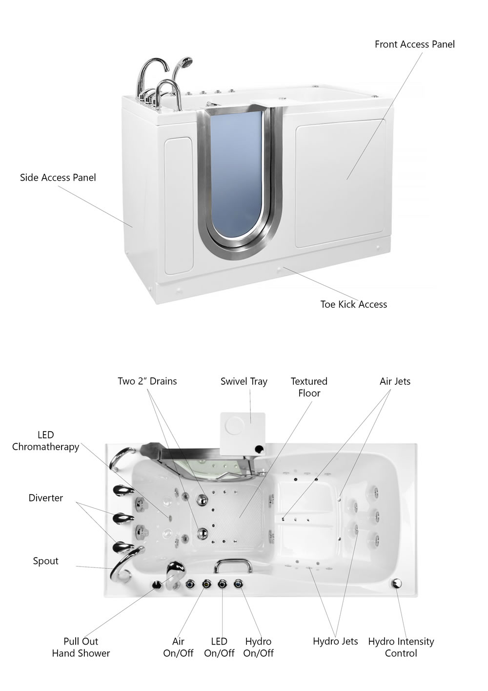 Ella Ultimate Acrylic Walk-In Spa Bath with Foot Massage