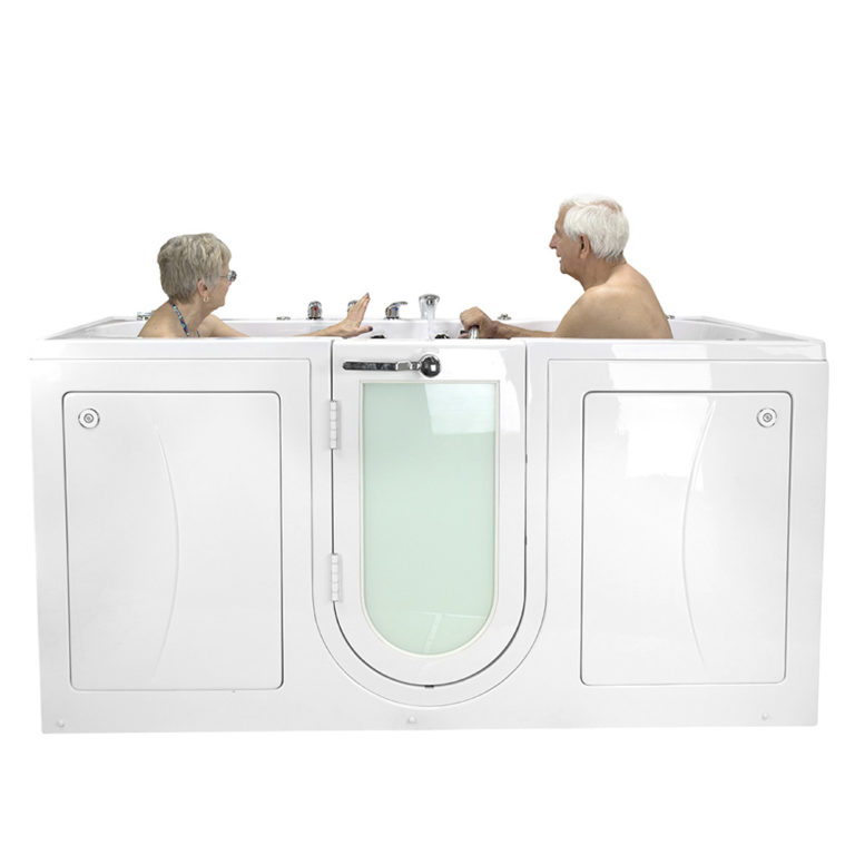 Big4Two Two Seat Acrylic Outward Swing Door Walk-In Bathtub with Independently Operated Foot Massage