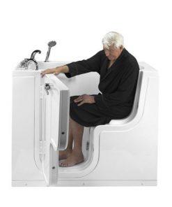 Ella Transfer60 L-Shaped Outward Swing Door Wheelchair Accessible Acrylic Walk-In Bathtub with 2″ Dual Drain