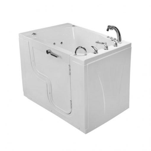 Ella TransferXXXL L-Shaped Outward Swing Door Wheelchair Accessible Acrylic Walk-In Bathtub with 2″ Dual Drain